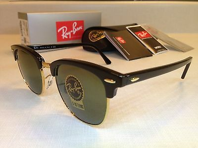 RAY-BAN CLUBMASTER SUNGLASSES Size 51MM Black Frame with Green G-15 Lens