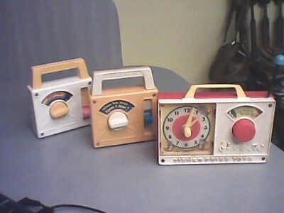 Set Of 3 Vtg. Working Fisher Price Toys: 1964 Clock Radio 1980 and 1981 Vtg.Toys