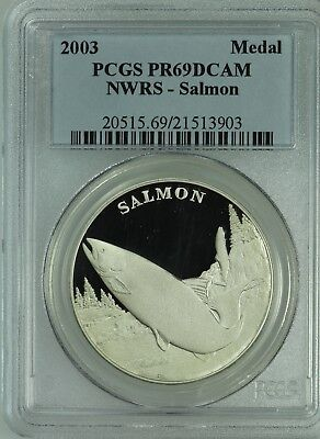 2003 National Wildlife Medal! Salmon! Pcgs Pr69! Nwrs! Us Coin Lot #7588