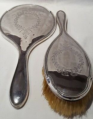 Antique Sterling Silver Dressing Table Brush & Hand Mirror Birmingham 1919 A/F