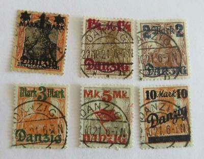 Germany 1920 Danzig  small collection surcharges on Germania used