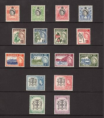 Jamaica 1956-8 QEII Definitives Hinged Mint SG 159-74
