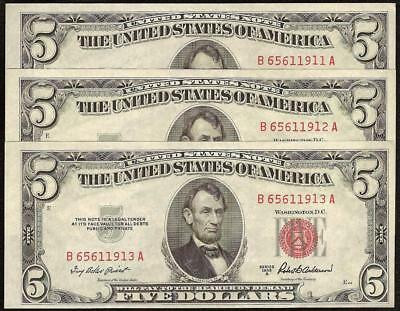 3 Cons 1953B $5 Dollar United States Legal Tender Red Seal Notes Paper Money