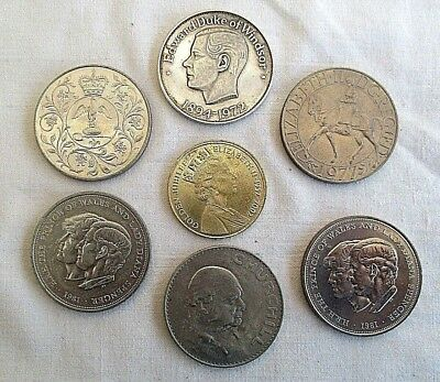 Job Lot Of 7 Vintage Commemorative Coins