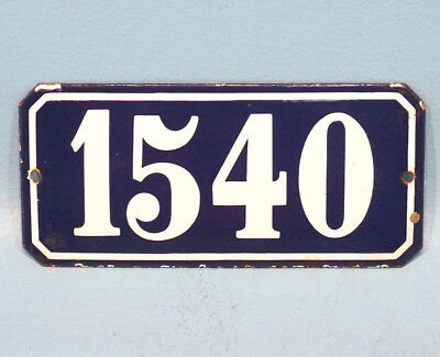 Antique French Porcelain Enamel Blue White Painted Iron Number Plaque Sign 1540