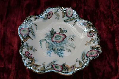 Antique Victorian Davenport Floral footed Cake/Sandwich Plate Stand c1850