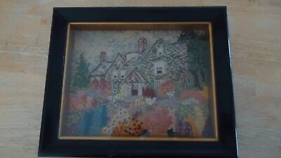 """antique needle work  needlepoint in shadow box frame 12"""" x 10"""""""