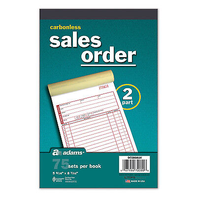 5 pk Sales Order Book Carbonless 2 part 75p each Adams DC5808UV invoice RED ink1