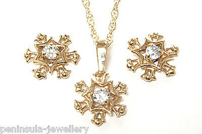 9ct Gold Snowflake Pendant and Earring Set Gift Boxed Made in UK