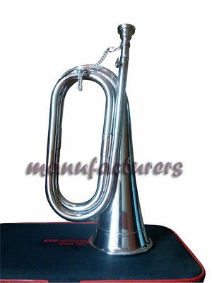 "Bb TUNABLE CHROME^PLATED""PROFESSIONAL^SCHOOL ARMY MILITARIA BOY SCOUT BUGLE+CASE"