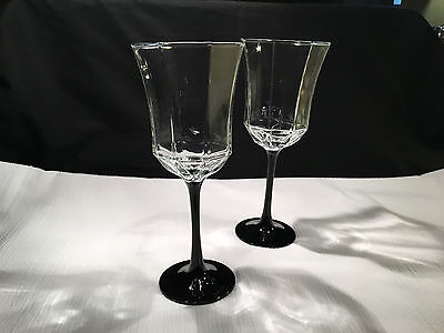 ARCOROC OCTIME BLACK WINE GLASS WATER GOBLET LUMINARC FRANCE  ~ SET of 2