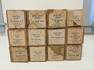 Vintage Lot of 12 QRS Player Piano Rolls Variety of Music, POPULAR TITLES  #6