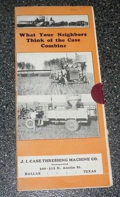 Antique Vtg Case Threshing Machine Co Combine Tractor Brochure Mailer Pamplet
