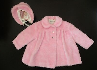 Vintage Baby/ Toddler Girl Pink Fuzzy Winter Coat & Hat by Daisy of California