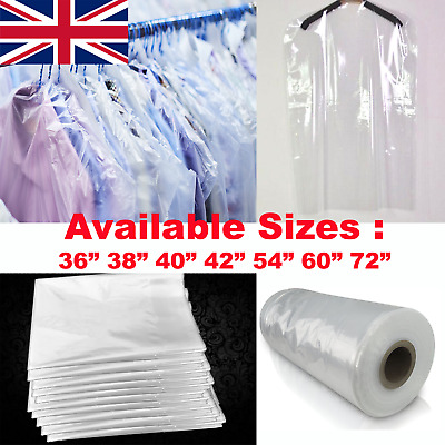 Clear Garment Protection Cover Long Dress Suit Shirt Cloth Plastic Bag Poly Roll