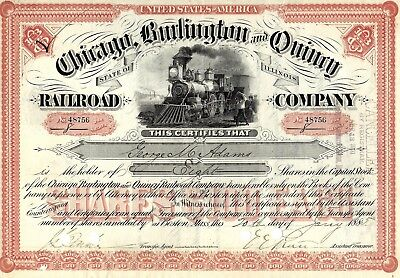 Nmstampsnstuff: 1885 - Chicago, Burlington & Quincy Rr Stock Certificate