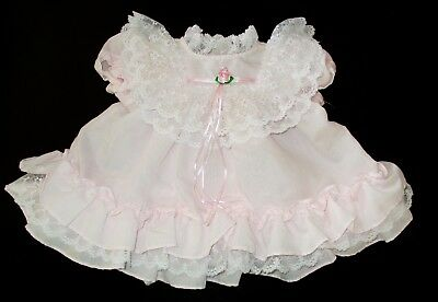 Vintage Baby/ Infant Girl Pink Frilly Lacy Dress by JoLene- 12 mo