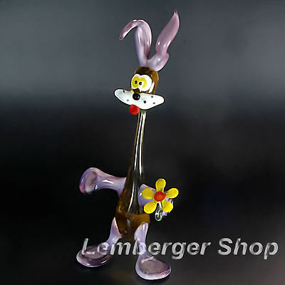 Glass figurine rabbit made of colored glass. Height 17 cm / 6.8 inch!