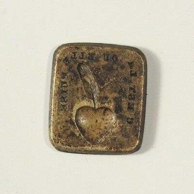 18th Century French Wax Seal Matrice Tile Double Faced with Heart and Vine