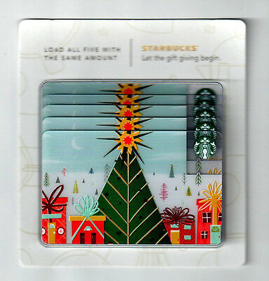 (4) lot Starbucks Card 2017 Merry Christmas card MINT HTF rare tree hanger