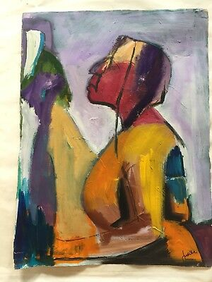 Signed PAINTING VINTAGE MID CENTURY MODERN ABSTRACT CUBISM EXPRESSIONISM
