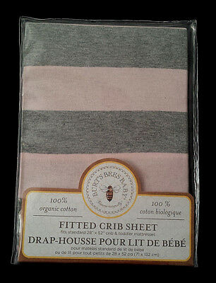 NEW-Burt's Bees Baby-100% Organic Cotton Fitted Crib Sheet/Blossom Stripe-Pink
