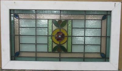 "LARGE OLD ENGLISH LEADED STAINED GLASS WINDOW Gorgeous Floral 20"" x 34.25"""