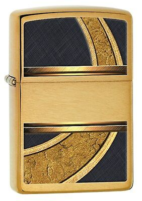 Zippo Lighter: Gold and Black - Brushed Brass 28673