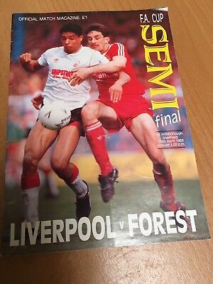 1989 Hillsborough FA Cup semi final programme Liverpool v Nottingham Forest