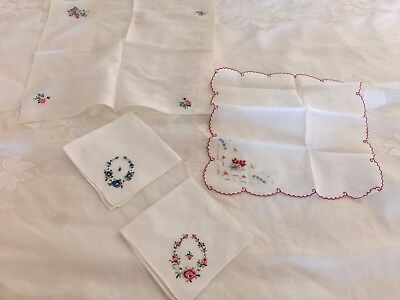4 Vintage PETIT POINT Hand Micro Embroidered Floral HANDKERCHIEFS Hankies