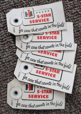 "Five 1940s-50s INTERNATIONAL HARVESTER ""5-Star Service"" TAGS...NOS!"