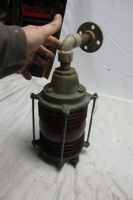 Antique Russell & Stoll Brass Marine Light Industrial Lighting  Red Globe 41of42