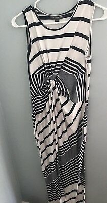 A Pea in the Pod Navy & White Stripe Maxi Stretch Knit Dress Size Large
