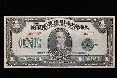 1923 Dominion of Canada. ($1) One Dollar. McCavour-Saunders. Green Seal.