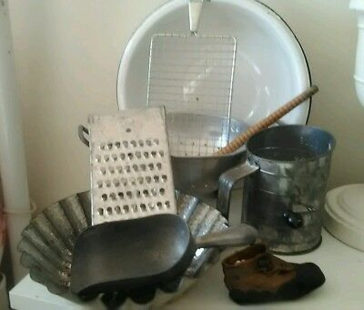 Vintage PRIMITIVE LOT Country Antique Kitchen Farm Decor Prim LEATHER BABY SHOE