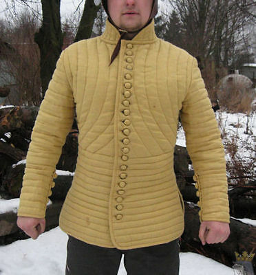 Medieval padded slim fit style Gambeson jacket collar full sleeves t2