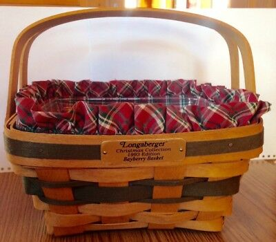 Longaberger Christmas Collection 1993 Bayberry Basket w/ Plaid Liner 9x9x4.5