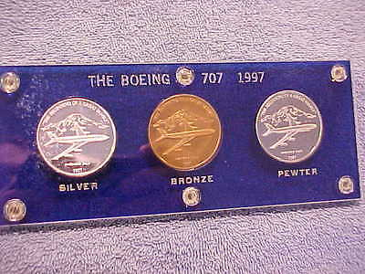 1997 BOEING EMPLOYEEs COIN CLUB 3 Medal Set 707 .999 Silver Bronze Pewter  ALsp