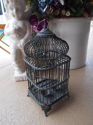 vintage metal BIRD CAGE footed rounded top attached feeders swing