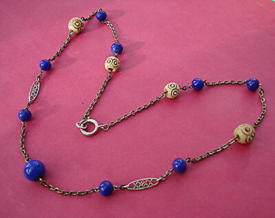 ART DECO OLD NECKLACE EGYPTIAN REVIVAL VINTAGE 1920s 19 inches long
