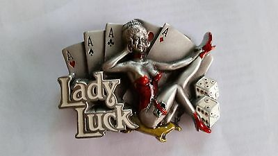 Lady Luck Mens Belt Buckle 1991 Dragon Designs England Gambling Casino The Great