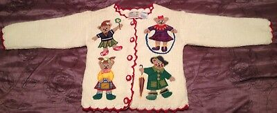 Vintage Childrens Girls Christmas Holiday Sweater Bears Size S 4 Appliqué Bears