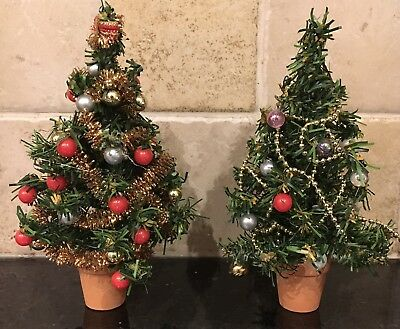 Pair of Vintage Small Decorated Christmas Trees