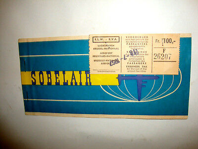 SOBELAIR AIRLINES PASSENGER TICKET AND BAGGAGE CHECK. ancien billet CHARTER