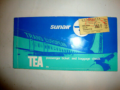 TRANS EUROPEAN TEA PASSENGER TICKET AND BAGGAGE CHECK. billet CHARTER FLIGHT