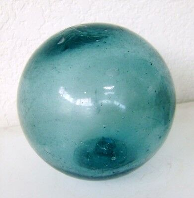"Vintage Blown Blue-Green Glass Fishing Net Ball Float 15.5"" Circumference"