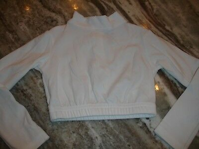 Girls Cheerleader Mock Turtleneck Long Sleeve Leo Top White Youth XS GTM Sports