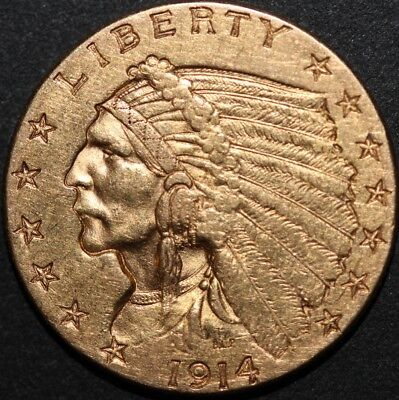 1914-D Gold Indian Coin $2 1/2 Two and a Half Dollar Quarter Eagle