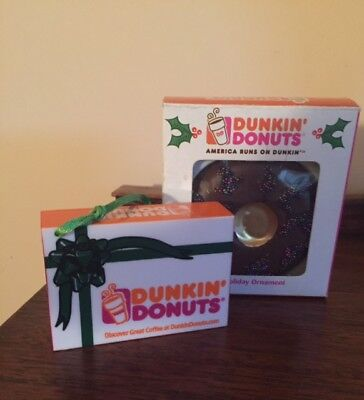 Set of 2 Dunkin Donuts  CHRISTMAS Ornaments Glass 2007 Frosted donut 2014 Box
