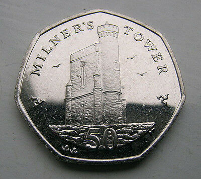 UNCIRCULATED ISLE OF MAN 2007 50p COIN MILNER'S/MILNERS TOWER